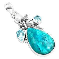 Natural blue shattuckite topaz pearl 925 silver cupid angel wings pendant p5367