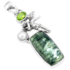 12.83cts natural green seraphinite pearl silver cupid angel wings pendant p5389