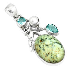 Natural green norwegian turquoise 925 silver cupid angel wings pendant p5390