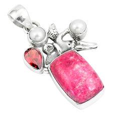 Natural pink thulite pearl garnet 925 silver cupid angel wings pendant p5405