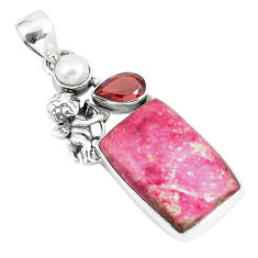 Natural pink thulite pearl garnet 925 silver cupid angel wings pendant p5407