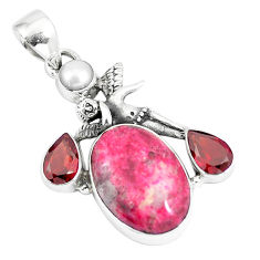 925 silver 15.97cts natural pink thulite pearl cupid angel wings pendant p5410