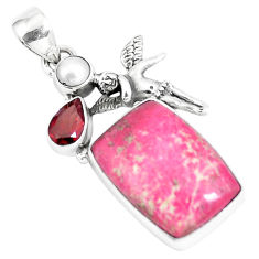 16.92cts natural pink thulite pearl 925 silver cupid angel wings pendant p5412