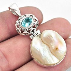 21.29cts natural white pearl topaz 925 sterling silver pendant jewelry p6036