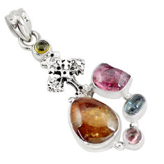 925 silver 12.34cts natural multi color tourmaline holy cross pendant p6384