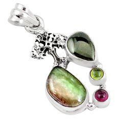 10.90cts natural multi color tourmaline 925 silver holy cross pendant p6389