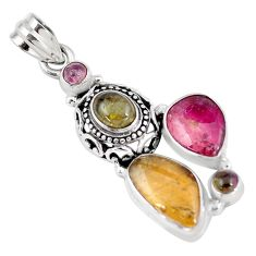 925 sterling silver 11.37cts natural multicolor tourmaline pendant jewelry p6391