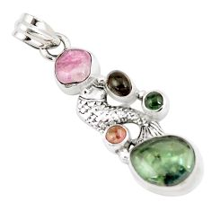12.31cts natural multi color tourmaline 925 sterling silver fish pendant p6401