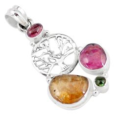 12.40cts natural multi color tourmaline 925 silver tree of life pendant p6403