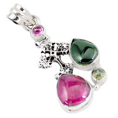 925 silver 10.60cts natural multi color tourmaline holy cross pendant p6404