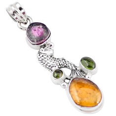 11.00cts natural multi color tourmaline 925 sterling silver fish pendant p6407