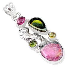 11.23cts natural multi color tourmaline 925 sterling silver fish pendant p6408