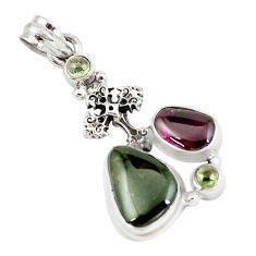 925 silver 12.40cts natural multi color tourmaline holy cross pendant p6414