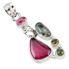 10.24cts natural multi color tourmaline 925 sterling silver owl pendant p6415