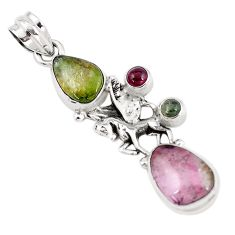 12.04cts natural multicolor tourmaline 925 sterling silver unicorn pendant p6417