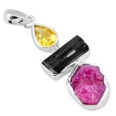 17.69cts natural pink ruby rough tourmaline rough citrine silver pendant p6725