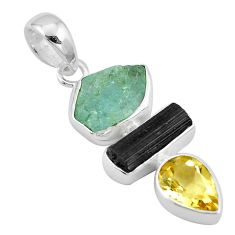 Natural aqua aquamarine rough tourmaline rough citrine 925 silver pendant p6729