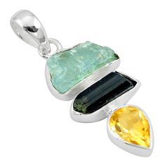 Natural aqua aquamarine rough tourmaline rough citrine 925 silver pendant p6733