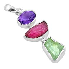 Natural pink ruby rough aquamarine rough amethyst 925 silver pendant p6753