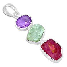 Natural pink ruby rough aquamarine rough amethyst 925 silver pendant p6756