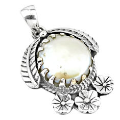 11.54cts natural white pearl 925 sterling silver flower pendant jewelry p7011