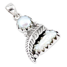7.36cts natural white pearl 925 sterling silver feather charm pendant p7072