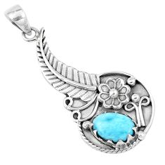 3.44cts natural blue larimar 925 sterling silver flower pendant jewelry p7108
