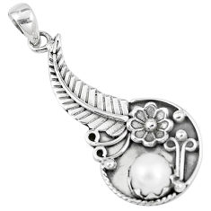 925 sterling silver 3.02cts natural white pearl round flower pendant p7110