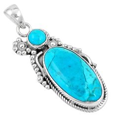 16.43cts green arizona mohave turquoise 925 sterling silver pendant p7141