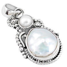 925 sterling silver 10.89cts natural white pearl fancy pendant jewelry p7151