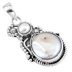 10.33cts natural white pearl 925 sterling silver pendant jewelry p7152