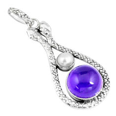 11.54cts natural purple amethyst pearl 925 sterling silver snake pendant p7545