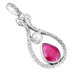 7.98cts natural red ruby pear pearl 925 sterling silver snake pendant p7549