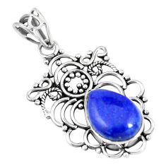 7.04cts natural blue lapis lazuli 925 sterling silver pendant jewelry p7566