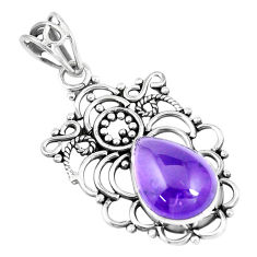 925 sterling silver 6.39cts natural purple amethyst pendant jewelry p7571