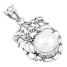 925 sterling silver 8.22cts natural white pearl round pendant jewelry p7573