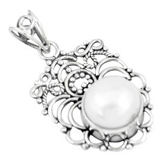 925 sterling silver 8.22cts natural white pearl round pendant jewelry p7574