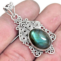 10.41cts natural blue labradorite 925 sterling silver pendant jewelry p7614