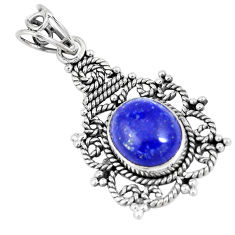 5.10cts natural blue lapis lazuli 925 sterling silver pendant jewelry p7646