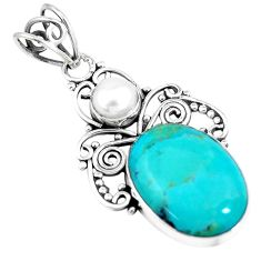 12.18cts green arizona mohave turquoise pearl 925 sterling silver pendant p7669