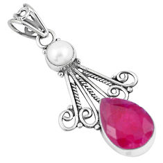 5.90cts natural red ruby white pearl 925 sterling silver pendant jewelry p7728