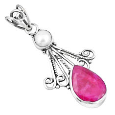 5.90cts natural red ruby white pearl 925 sterling silver pendant jewelry p7729