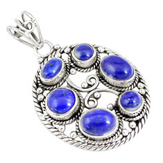 925 sterling silver 9.44cts natural blue lapis lazuli pendant jewelry p7829