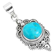7.22cts natural green kingman turquoise 925 sterling silver pendant p7981