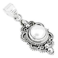 6.33cts natural white pearl round 925 sterling silver pendant jewelry p7991