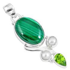 925 silver 16.17cts natural green malachite peridot pearl pendant jewelry p8335