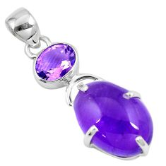 14.08cts natural purple amethyst 925 sterling silver pendant jewelry p8347