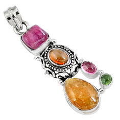 925 sterling silver 10.89cts natural multicolor tourmaline pendant jewelry p8366