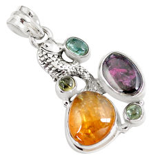 11.54cts natural multi color tourmaline 925 sterling silver fish pendant p8367