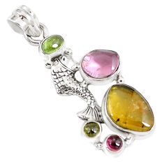 925 sterling silver 10.53cts natural multi color tourmaline fish pendant p8380